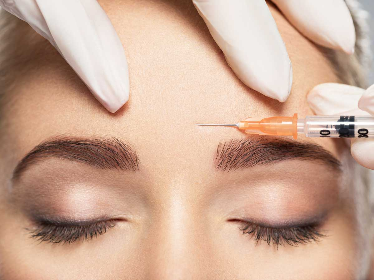 cosmetic injection of botox near eyes